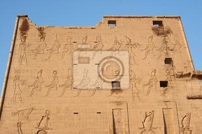 Erste Pylon Relief des Tempels von Edfu in Ägypten
