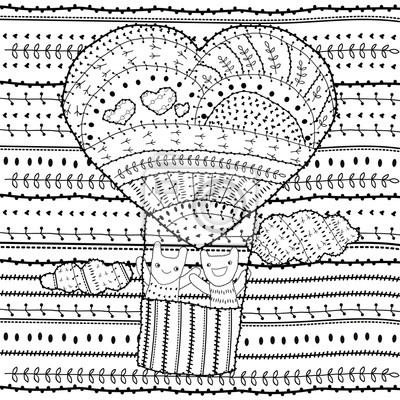 Erwachsene ausmalbilder herzförmige heißluftballon, zwei freunde ...