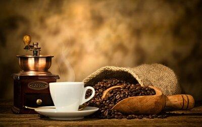 Fototapete Espresso-Kaffee mit alten Kaffeemühle