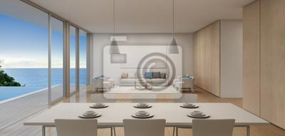 Ideen fur wohnzimmer 3d renderings  Ess-und wohnzimmer von luxus-strand haus mit meerblick schwimmbad ...
