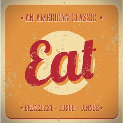 Fototapete Essen Weinlese Zeichen. All American classic