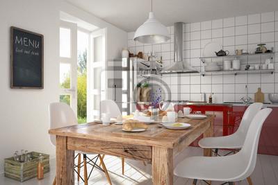 fototapete esszimmer, esszimmer mit einem gedeckten frühstückstisch in einer modernen, Design ideen