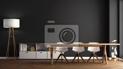 Fototapete Esszimmer Mit Großem Holztisch Vor Dunkelgrauer Wand