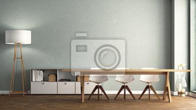 fototapete esszimmer, esszimmer mit großem holztisch vor hellgrüner zauberstab fototapete, Design ideen