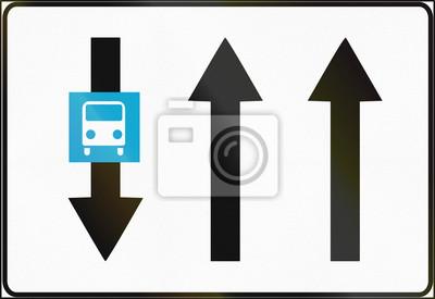 Estnisches Informationsschild - vorhandene Fahrspuren mit entgegengesetztem Verkehr