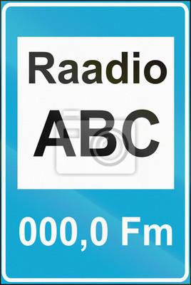 Estnisches Verkehrsschild - Radiofrequenz für Verkehrsinformationen