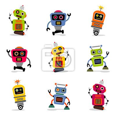 et cute Vektor retro Roboter 2