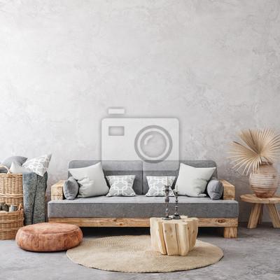 Fototapete Ethnic style living room interior, 3d render