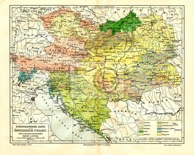 Ethnographische Karte Von Osterreich Ungarn Aus Meyers Lexikon
