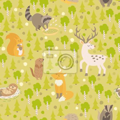 Eurasian Tiere nahtlose Muster. Wald abstrakte Karte mit Tieren: Hirsche, Waschbär, Otter, Eichhörnchen, Fuchs, Eichhörnchen, Gopher auf farbigen grünen Hintergrund.