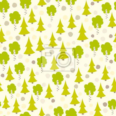 Eurasischen Baum nahtlose Muster. .Vintage Waldmuster mit Tanne und Birke. Vector Hintergrund für Kinder, Kinder