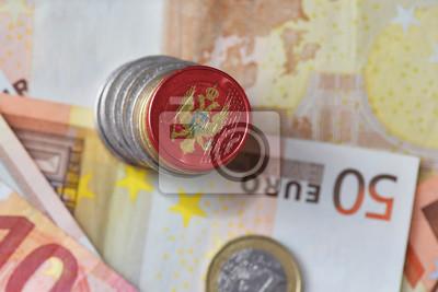 Euro Münze Mit Nationalflagge Von Montenegro Auf Dem Euro Geld