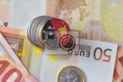 Euro Münze Mit Nationalflagge Von Papua Neuguinea Auf Dem Euro Geld