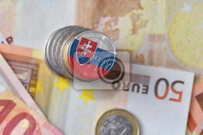 Euro Münze Mit Nationalflagge Von Slowakei Auf Dem Euro Geld