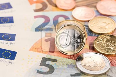 Euro Münze Und Banknote Hintergrund Euro Euroscheine Und Münzen