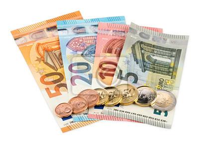 Euro Münze Und Banknoten Isoliert Auf Weißem Hintergrund Hintergrund