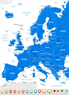 Fototapete Europa - Karte und Navigations icons.Highly detaillierten Vektor illustration.Image enthält nächsten Schichten: Landkonturen, Land und Landnamen, Städtenamen, Wasser Objektnamen, Navigationssymbole.