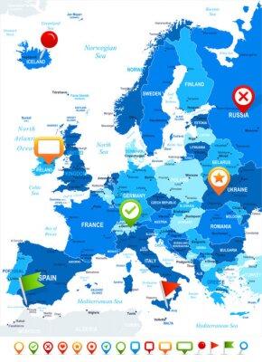 Fototapete Europa - Karte und Navigationssymbole - illustration.Image enthält nächsten Schichten: Landkonturen, Land und Landnamen, Städtenamen, Wasser Objektnamen, Navigationssymbole.