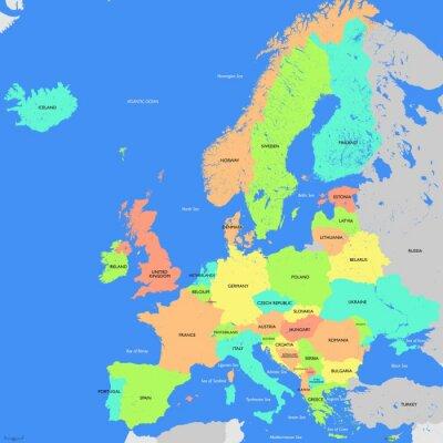 Fototapete Europa Landkarte Detailierte