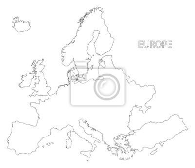 Karte Europa Schwarz Weiss.Fototapete Europa Skizzieren Silhouette Karte Abbildung In Schwarz Und Weiss