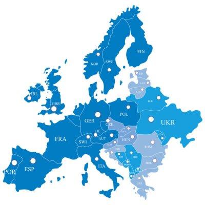 Fototapete Europäische Karte mit Regionen auf weißem Hintergrund
