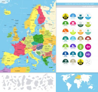 Fototapete Europe detailed political map.Flat icon set