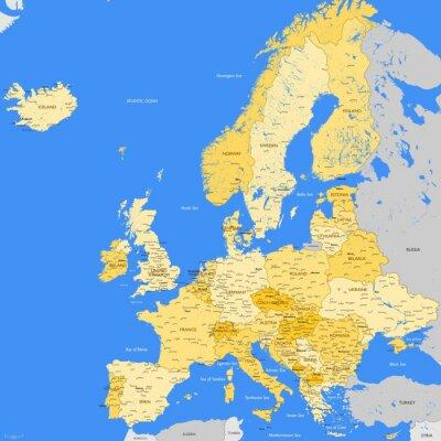 Fototapete Europe map cities