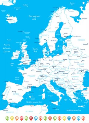 Fototapete Europe - map, navigation icons - illustration.Image contains next layers: land contours,country and land names, city names, water object names, navigation icons.