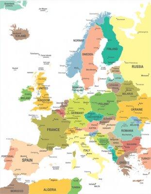 Fototapete Europe map - sehr detaillierte Vektor-Illustration.