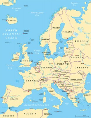 Fototapete Europe Political Map