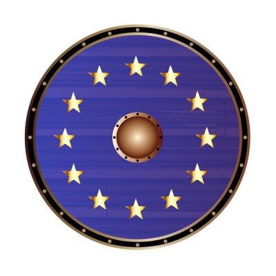 European Union Flag As Viking Shield