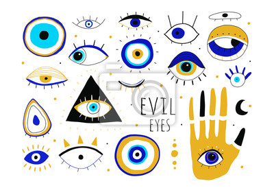 Fototapete Evil eyes. Set of hand drawn various talismans. Different shapes. Flat design. Free hand drawing style. Contemporary modern trendy vector illustration. All elements are isolated