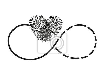 Ewigkeit Mit Fingerabdruck Herz Vektor Fototapete Fototapeten