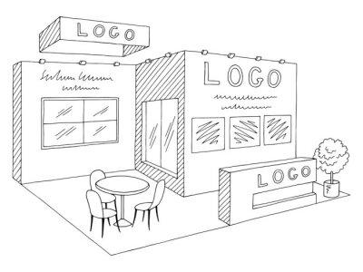 Fototapete Exhibition stand graphic interior black white sketch illustration vector