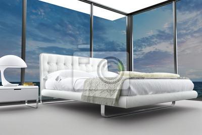 Exklusive modern design schlafzimmer mit meerblick fototapete ...