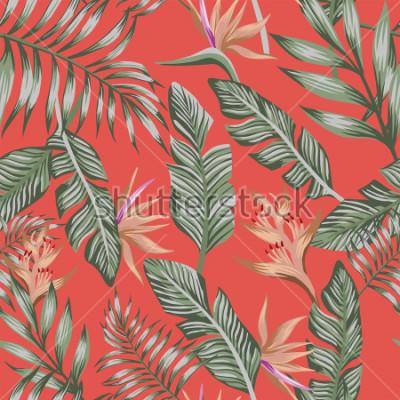 Fototapete Exotischer tropischer grüner Palmeblattbrauner tropischer Blumenvogel des Paradieses (Strelizia) nahtloser lebender korallenroter Hintergrund des nahtlosen Vektormusters