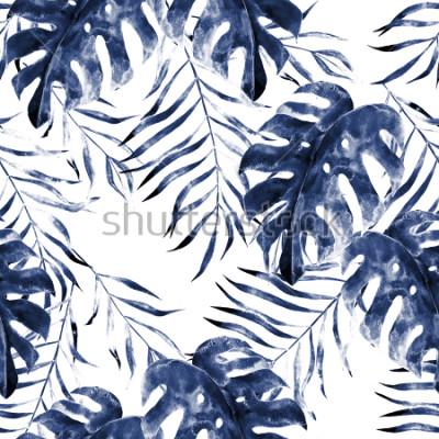 Fototapete Exotisches nahtloses Muster des Aquarells, grüne tropische Blätter, botanische Sommerillustration auf weißem Hintergrund