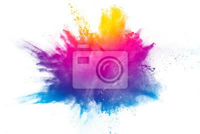 Fototapete Explosion des Regenbogenfarbpulvers auf weißem Hintergrund.