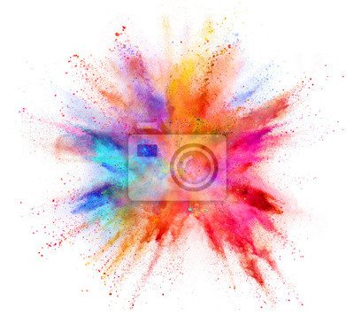 Fototapete Explosion of coloured powder isolated on white background