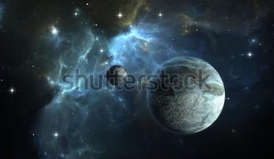 Fototapete Extrasolarer Planet. Steinplanet mit Mond auf Hintergrundnebelfleck. Abbildung 3D