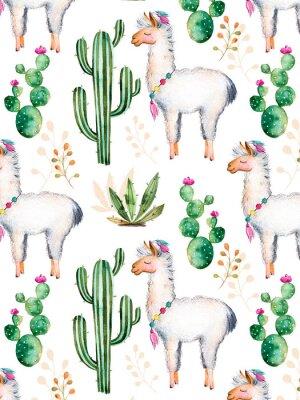 Fototapete Extution mit hochwertigen handgemalten Aquarell-Elementen für Ihren Entwurf mit Kaktus-Pflanzen, Blumen und lama.For Ihre einzigartige Kreation, Tapete, Hintergrund, Blogs, Muster, Einladungen und vie