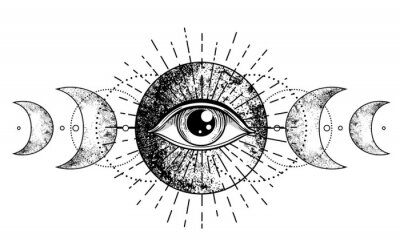 Fototapete Eye of Providence. Masonic symbol. All seeing eye inside triple moon pagan Wicca moon goddess symbol. Vector illustration. Tattoo, astrology, alchemy, boho and magic symbol.