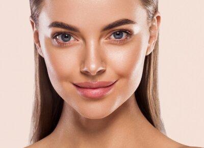 Fototapete Eyes lips nose woman healthy skin macro headshot beauty clean skin
