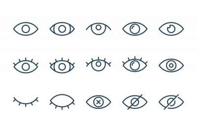 Fototapete Eyes related line icons. View and eye vector linear icon set.