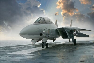 F-14 Kampfjet auf einem Flugzeugträger Deck unter dramatischen cl