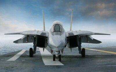 F-14 Kampfjet auf einem Flugzeugträger Deck von vorne gesehen