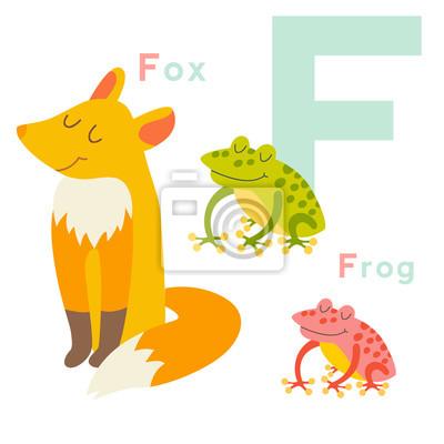 F Buchstabe-Tiere eingestellt. Englisches Alphabet. Vektor-Illustration, isoliert auf weißem Hintergrund