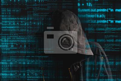 Fototapete Faceless Kapuze anonyme Computer-Hacker