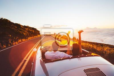 Fototapete Fahren in den Sonnenuntergang