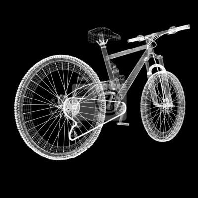 Fahrrad als 3d-drahtrahmen objekt isoliert fototapete • fototapeten ...